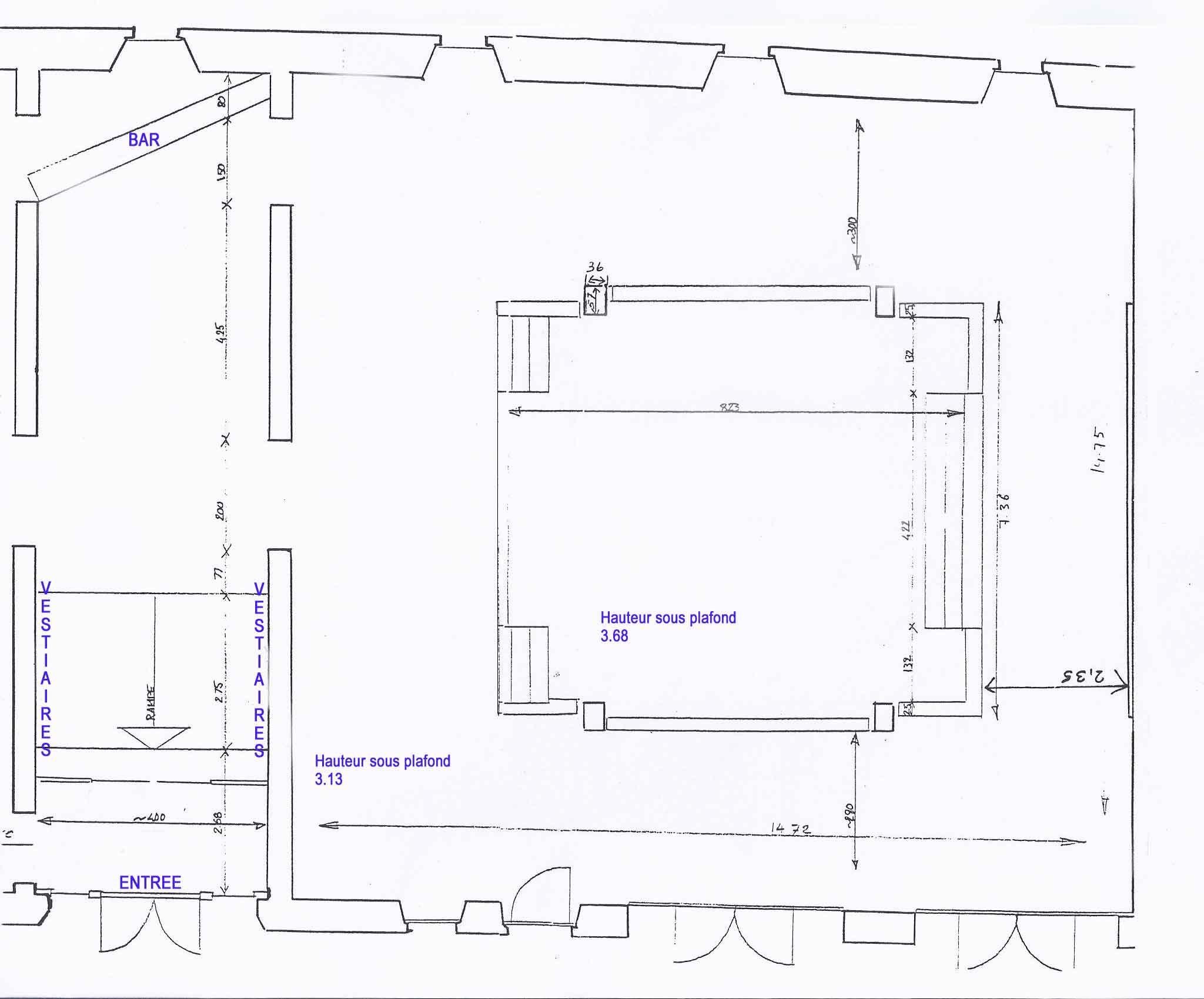 Plan de la Salle de La Débridée