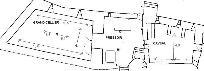 Plan du Grand Cellier, Pressoir et Caveau
